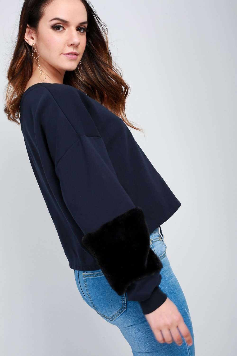 Becci Faux Fur Long Sleeve Cropped Sweatshirt - bejealous-com