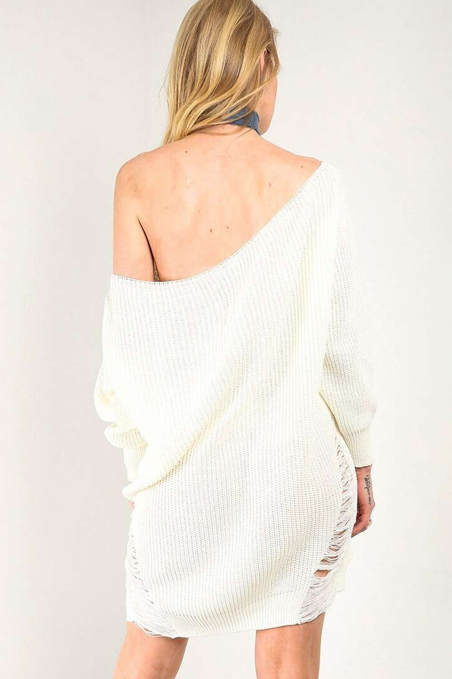 Cream Bardot Ripped Knit Jumper Dress - bejealous-com