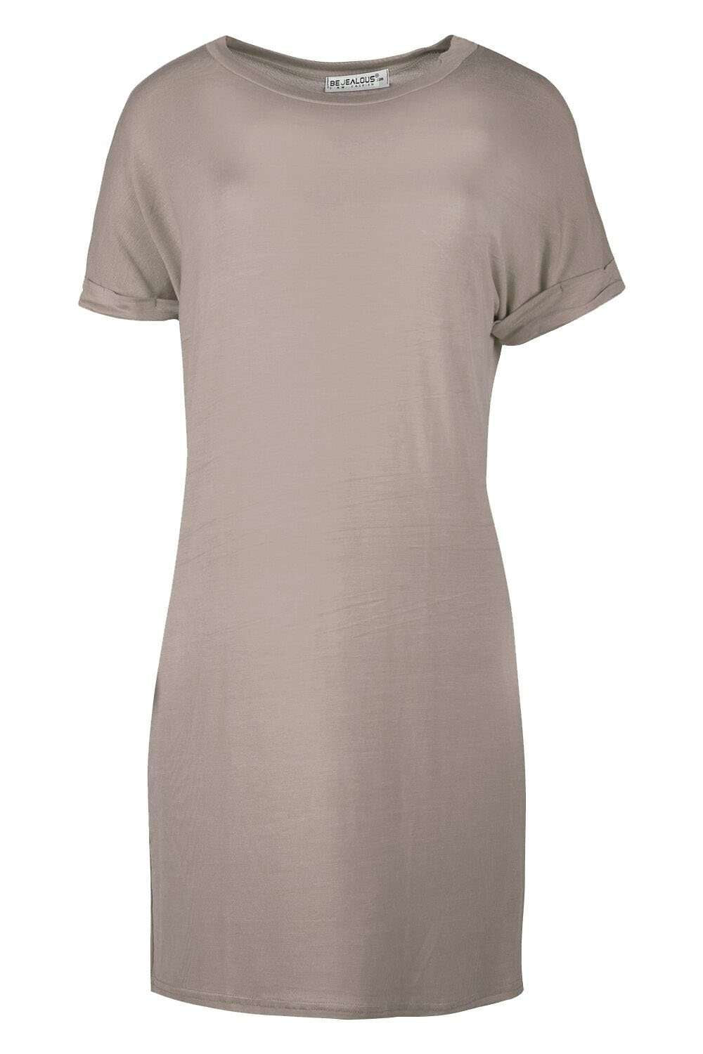 Beige Roll Sleeve Oversized Basic Tshirt Dress - bejealous-com
