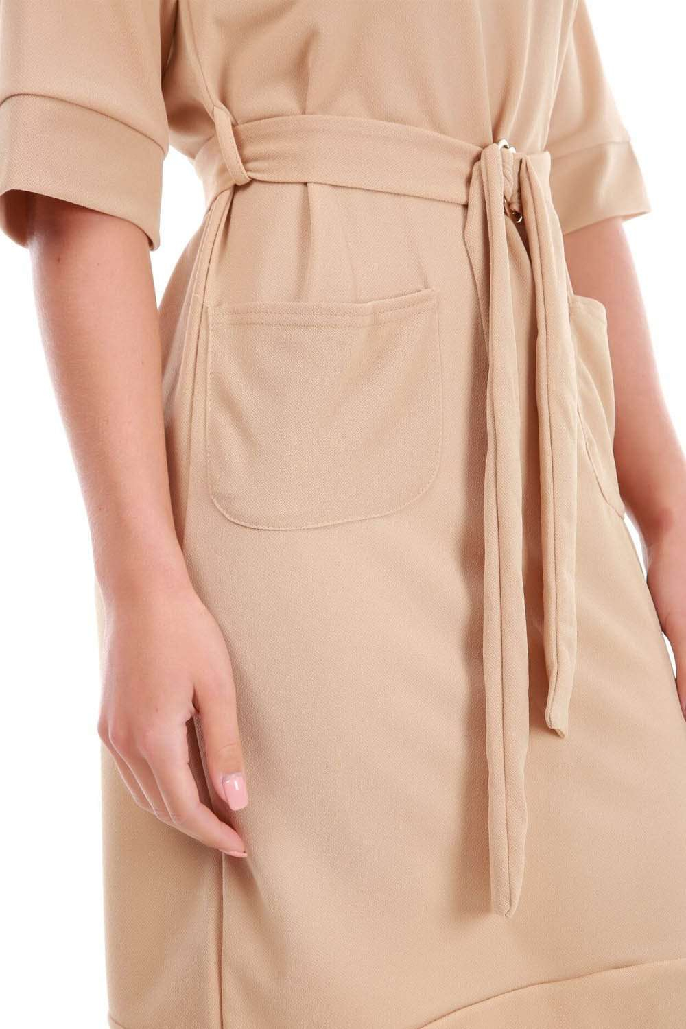 Beige Utility D Ring Midi Shift Dress With Pockets - bejealous-com