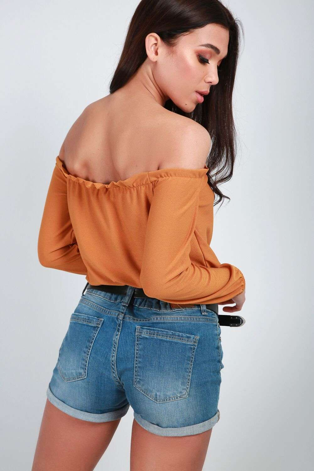 Bella Long Sleeve Off Shoulder Frill Trim Top - bejealous-com