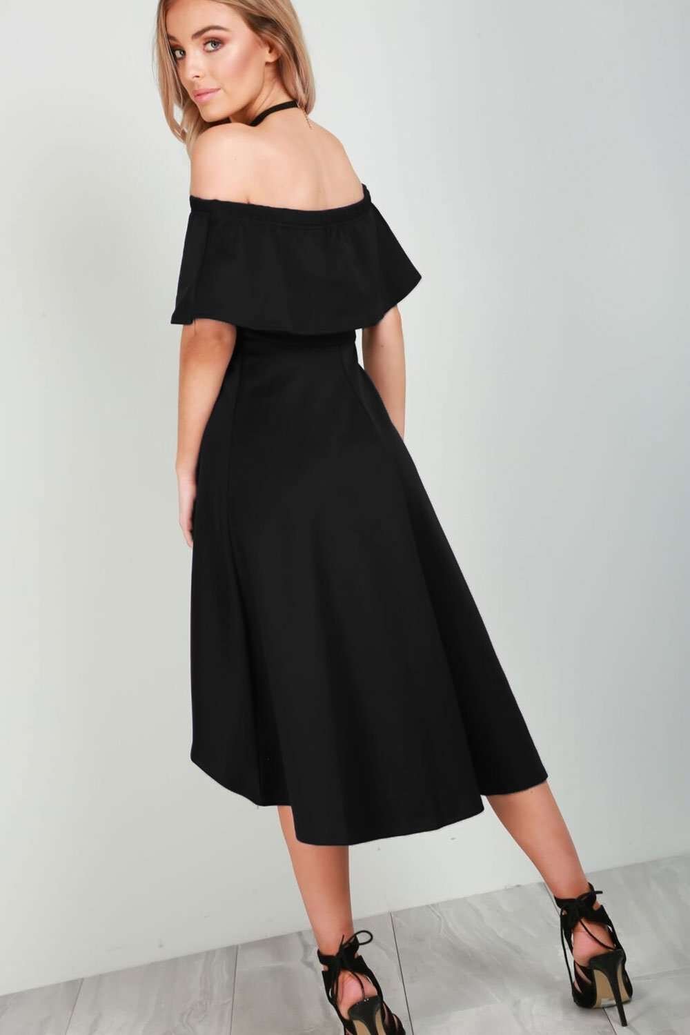 Bella Off Shoulder Dipped Hem Midi Dress - bejealous-com