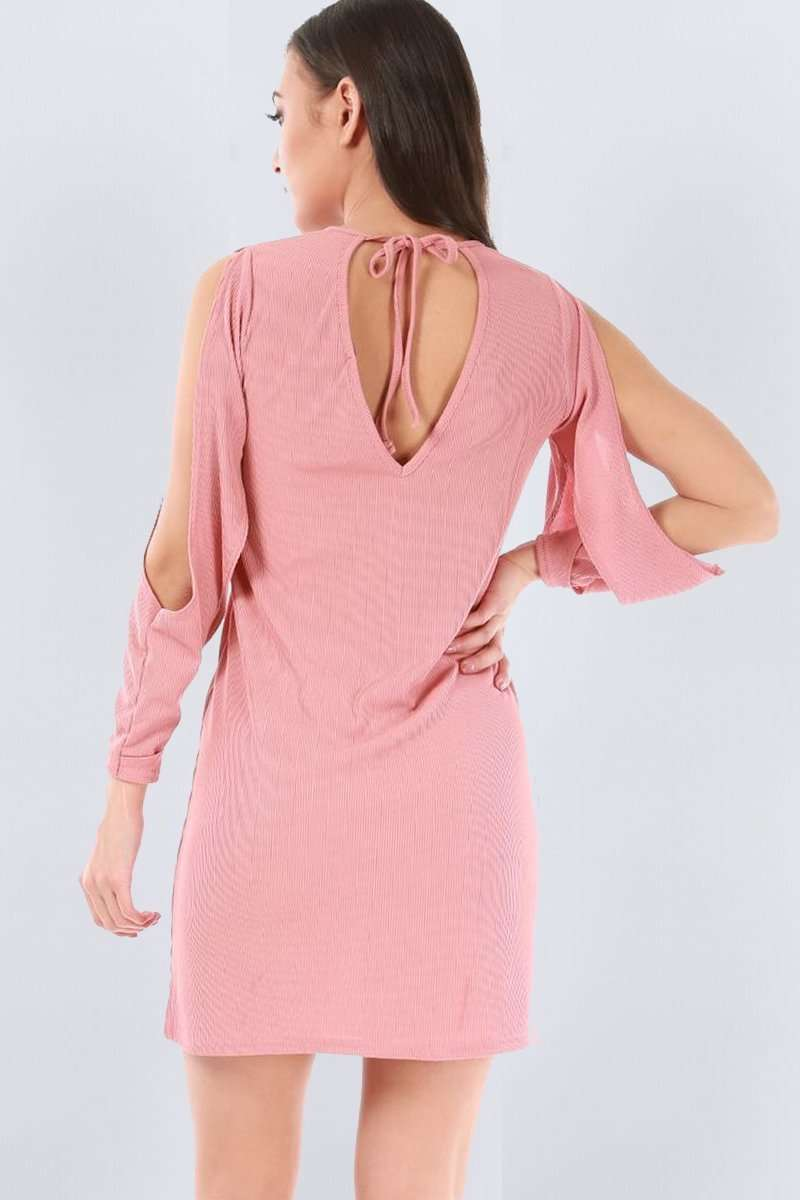 Bella Split Sleeve Open Back Mini Dress - bejealous-com