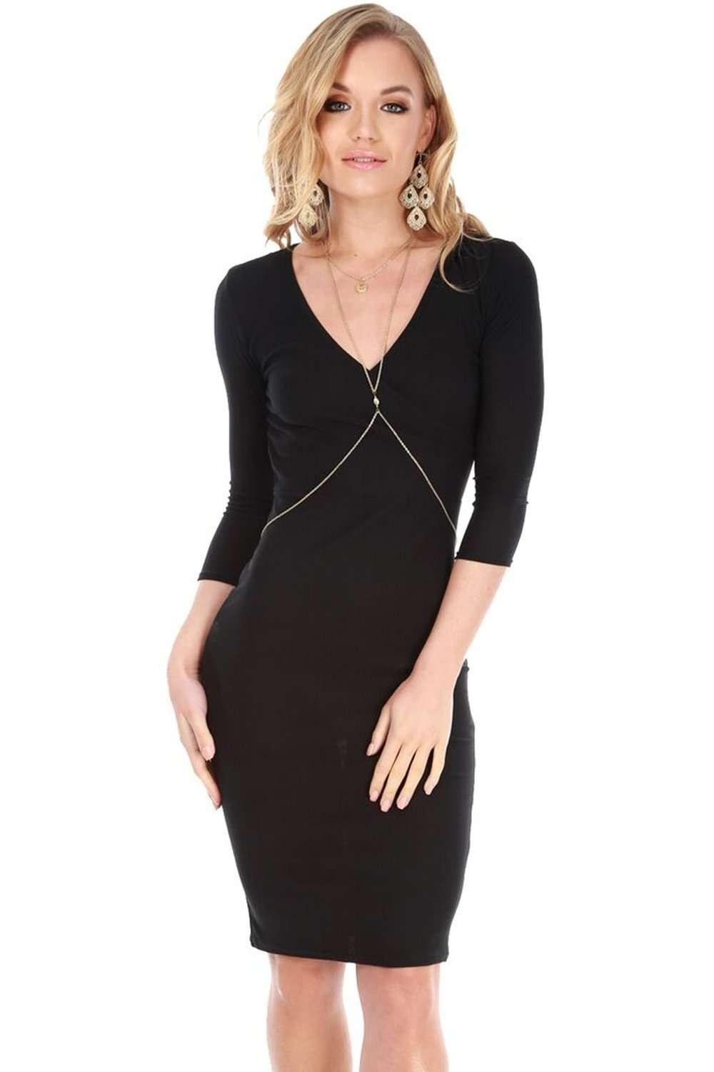 Belle Long Sleeve Plunge Neck Bodycon Midi Dress - bejealous-com
