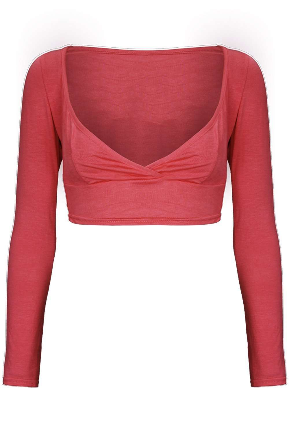 Bianka Long Sleeve Wrap Front Crop Top - bejealous-com