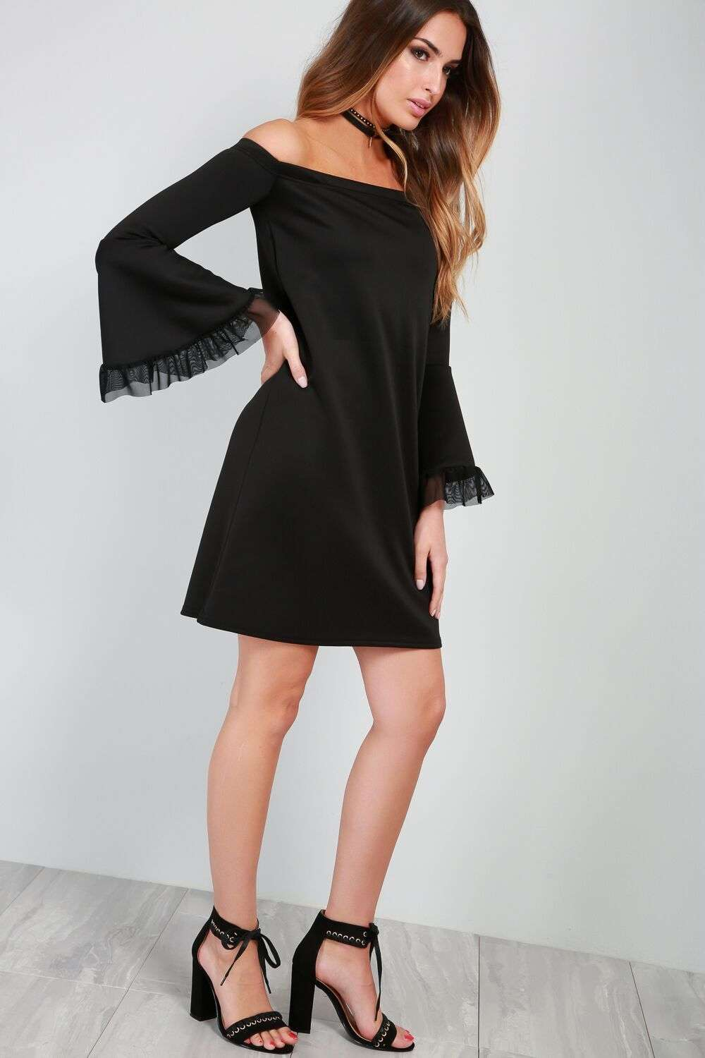 Billie Bardot Flare Sleeve A-Line Mini Dress - bejealous-com
