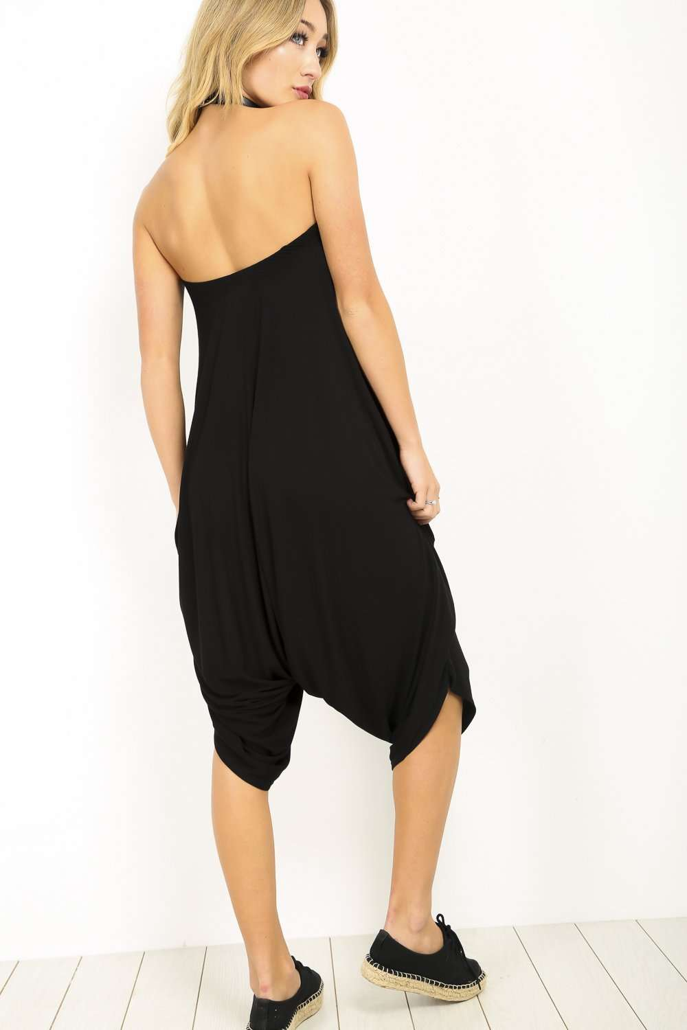 Black Bardot Basic Harem Cropped Leg Jumpsuit - bejealous-com