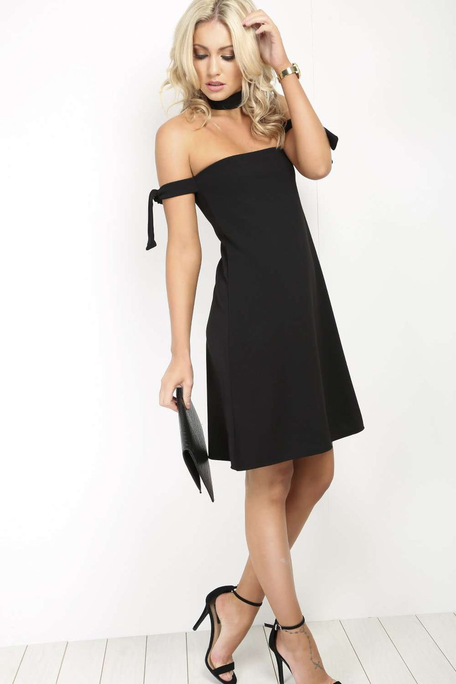 Black Bardot Tie Sleeve Mini Swing Dress - bejealous-com