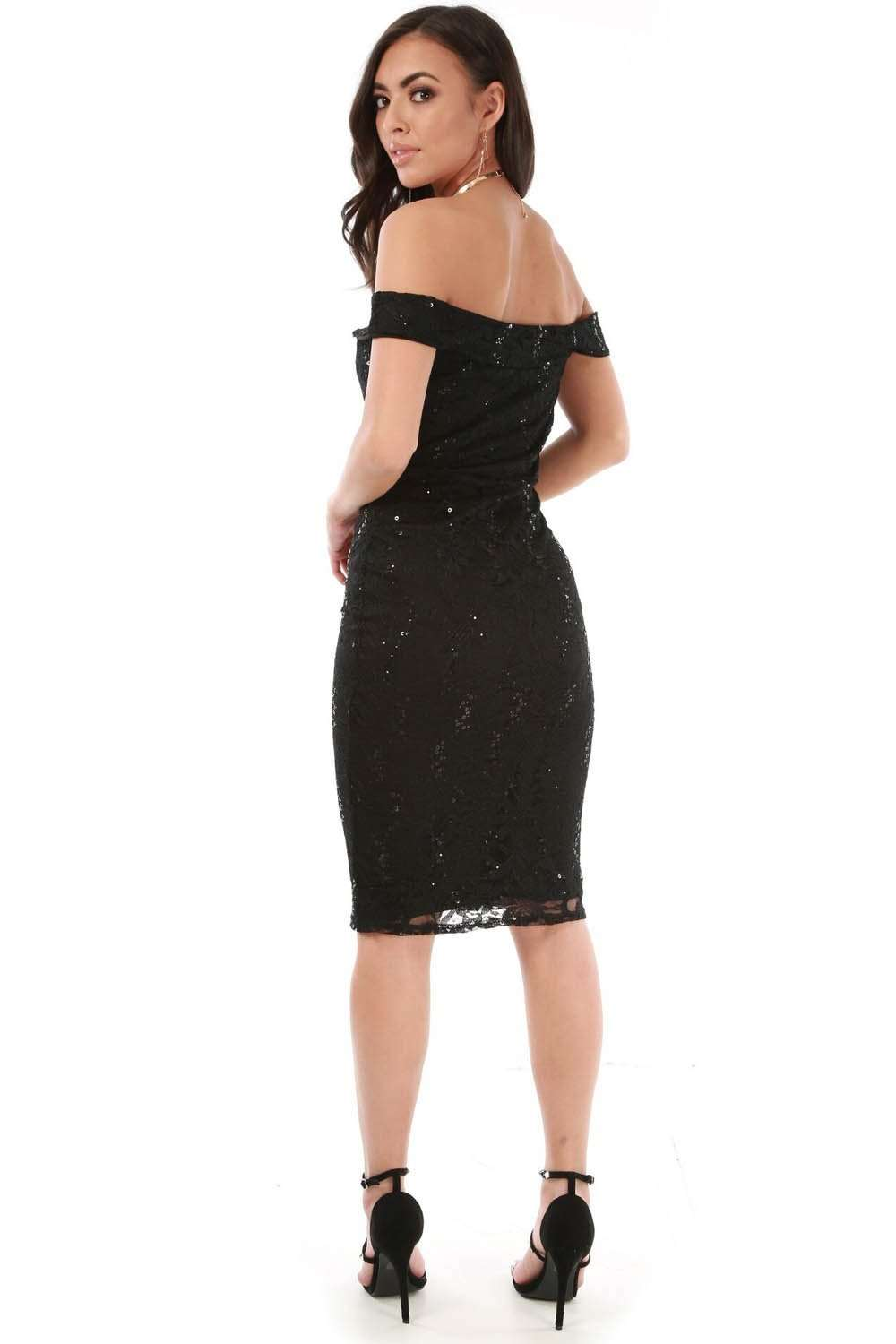 Black Bardot V Bar Sequin Bodycon Midi Dress - bejealous-com