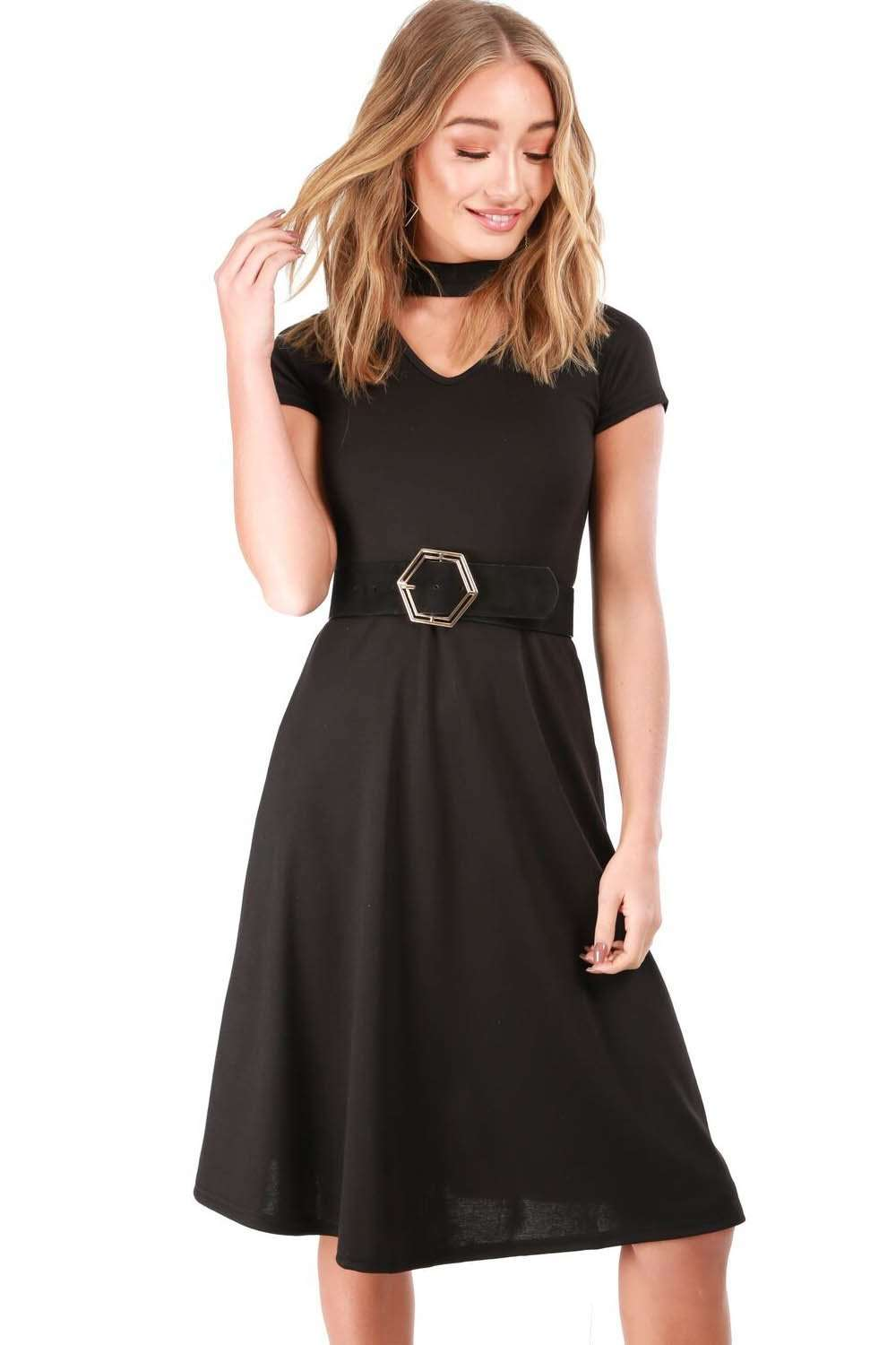 Black Choker Neck Cap Sleeve Midi Skater Dress - bejealous-com