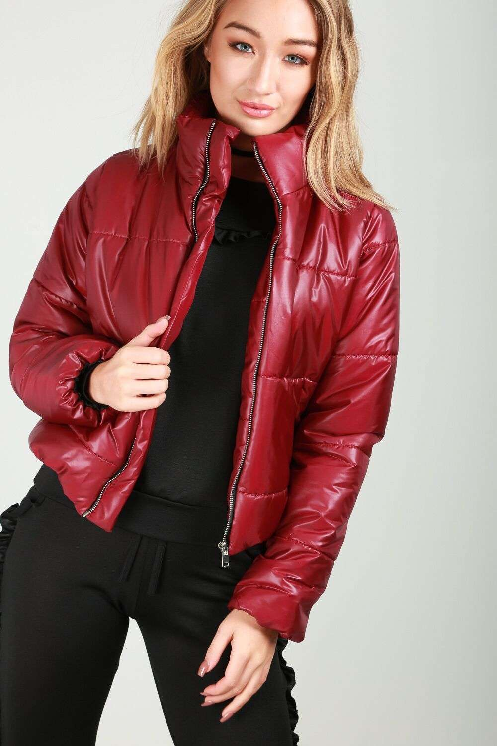 Black Cropped High Shine Quilted Puffer Jacket - bejealous-com