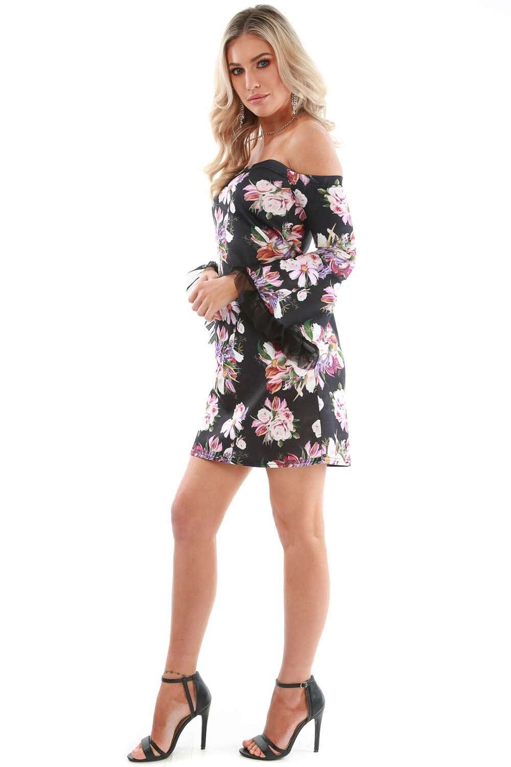 Black Floral Bardot Flare Sleeve Mini Skater Dress - bejealous-com