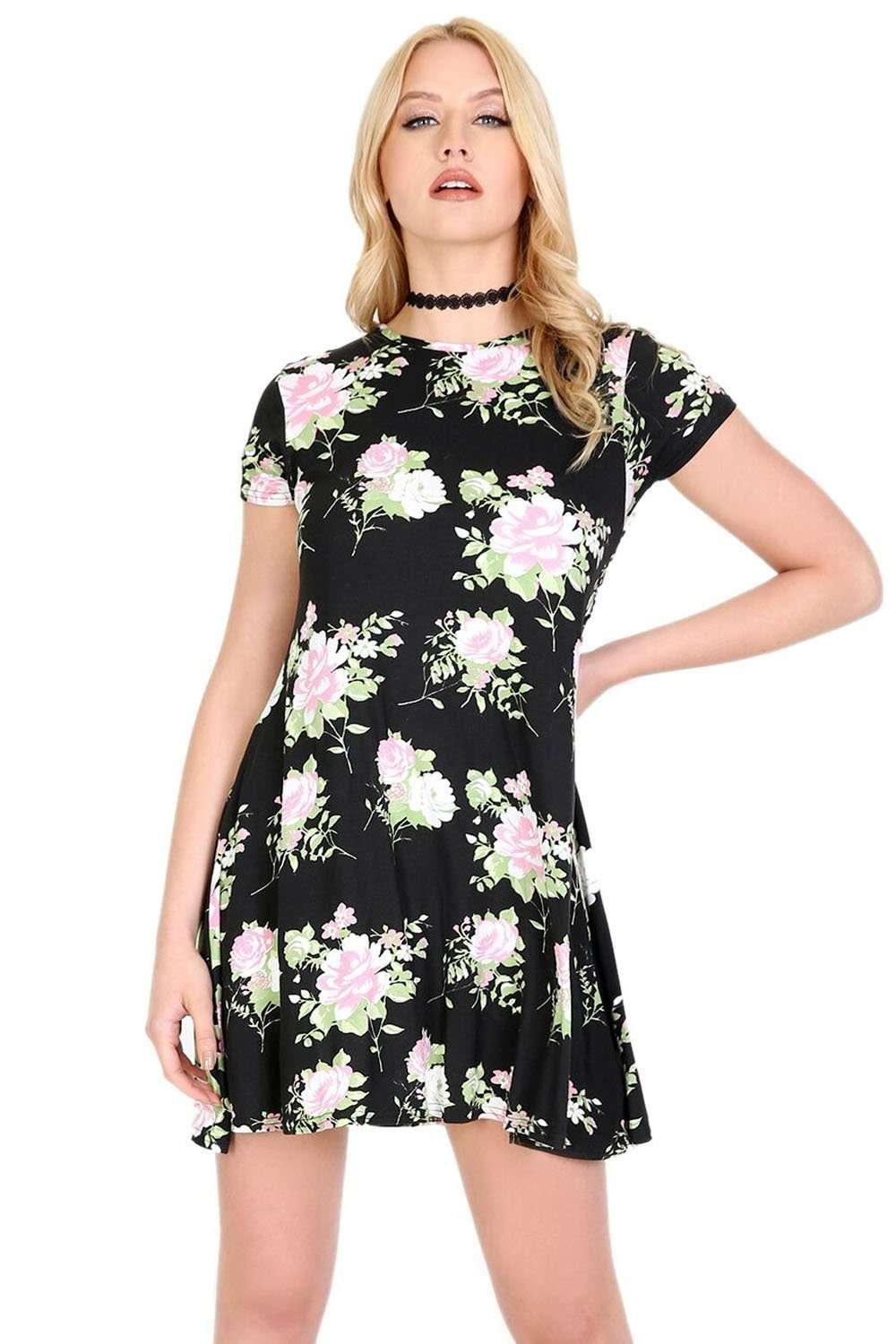Black Floral Short Sleeve Mini Swing Dress - bejealous-com