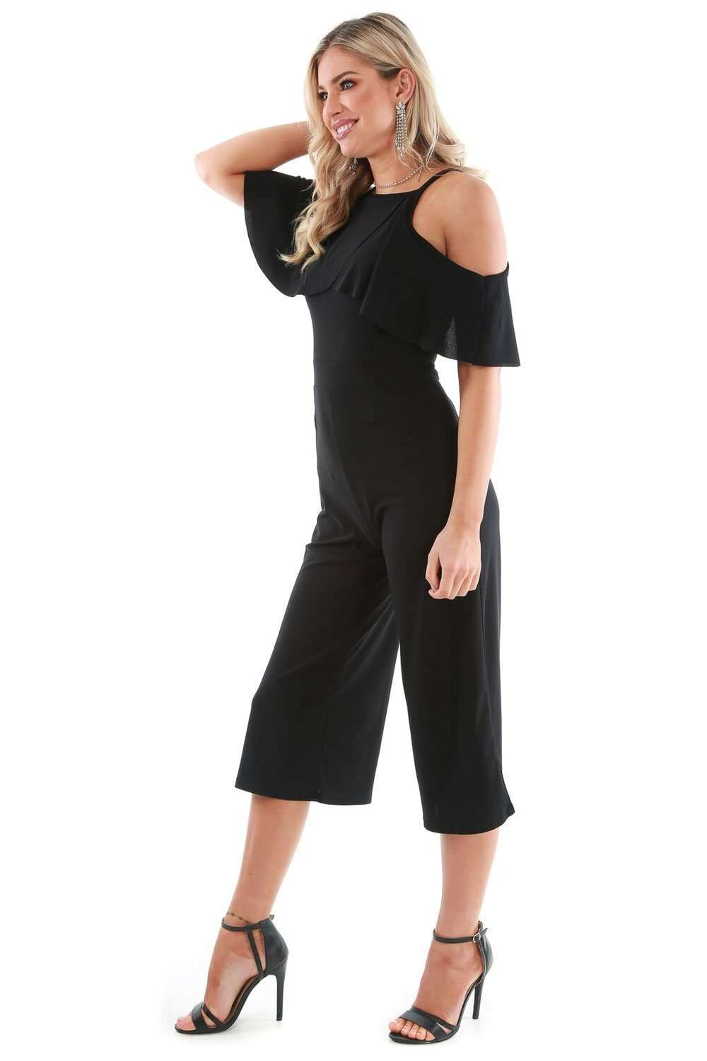 Black Frilly Cold Shoulder Cropped Leg Jumpsuit - bejealous-com
