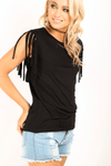 Black Fringe Sleeve Oversized Basic Tshirt - bejealous-com