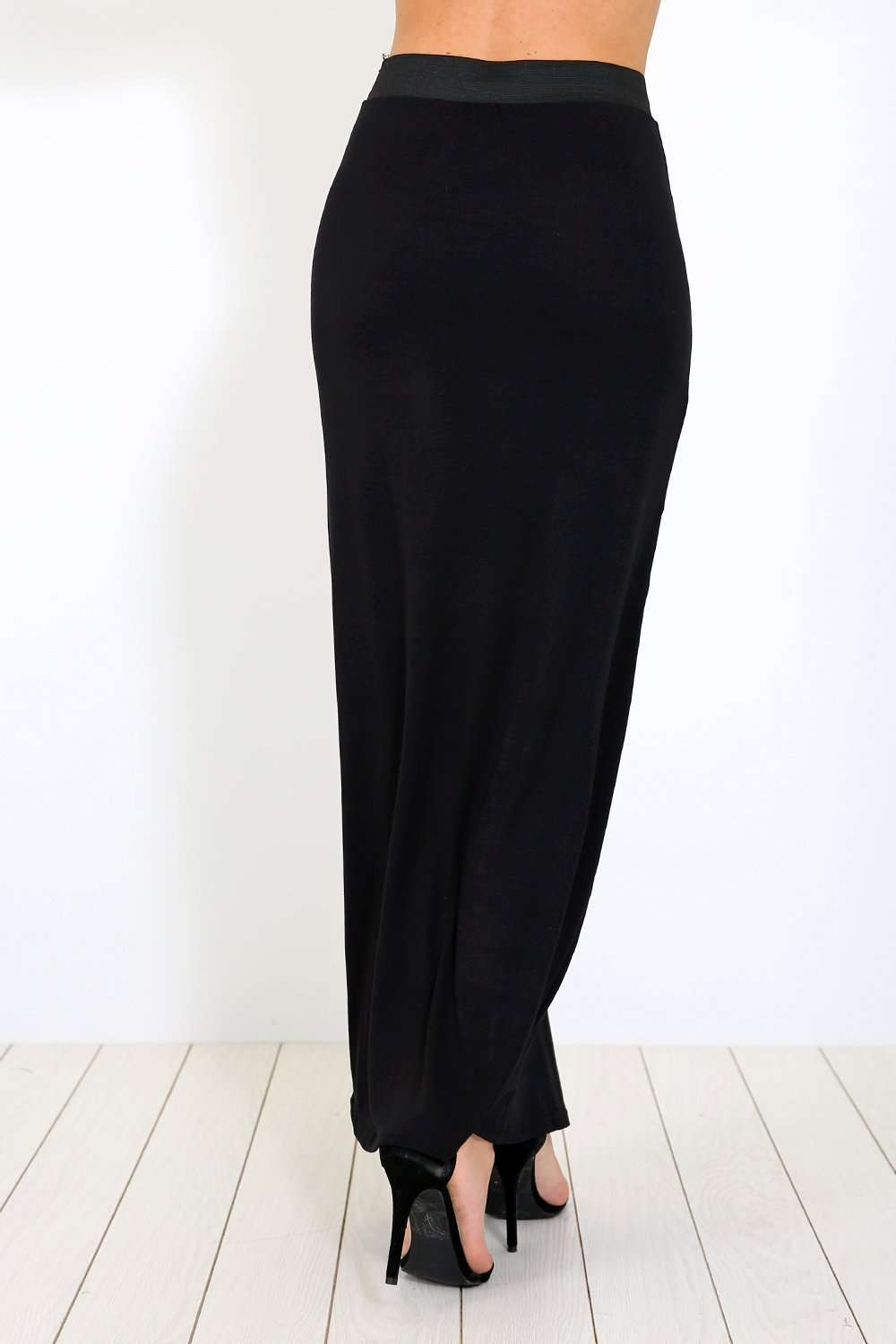 Black High Waisted Basic Jersey Maxi Skirt - bejealous-com
