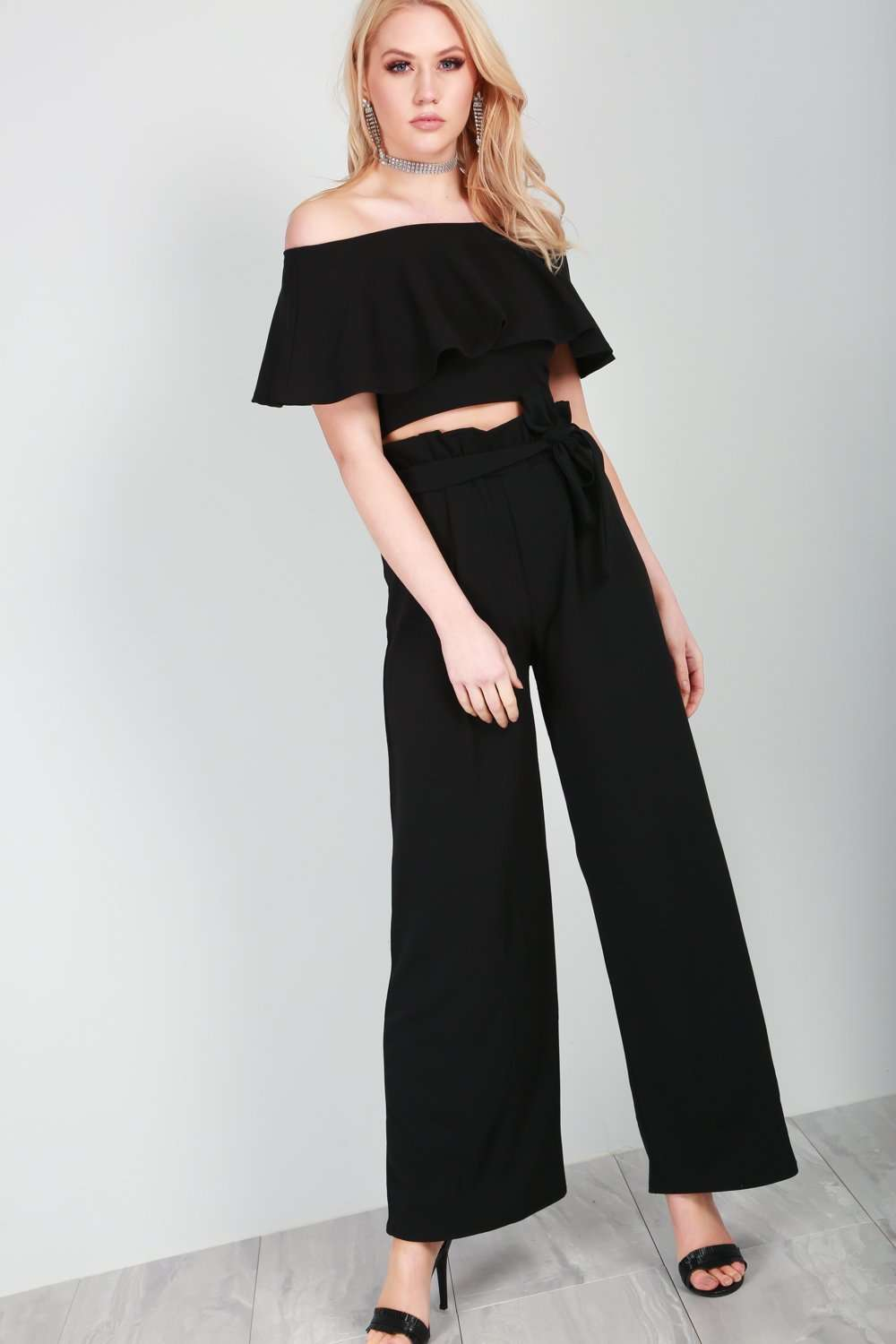 Black High Waisted Paper Bag Wide Leg Trousers - bejealous-com