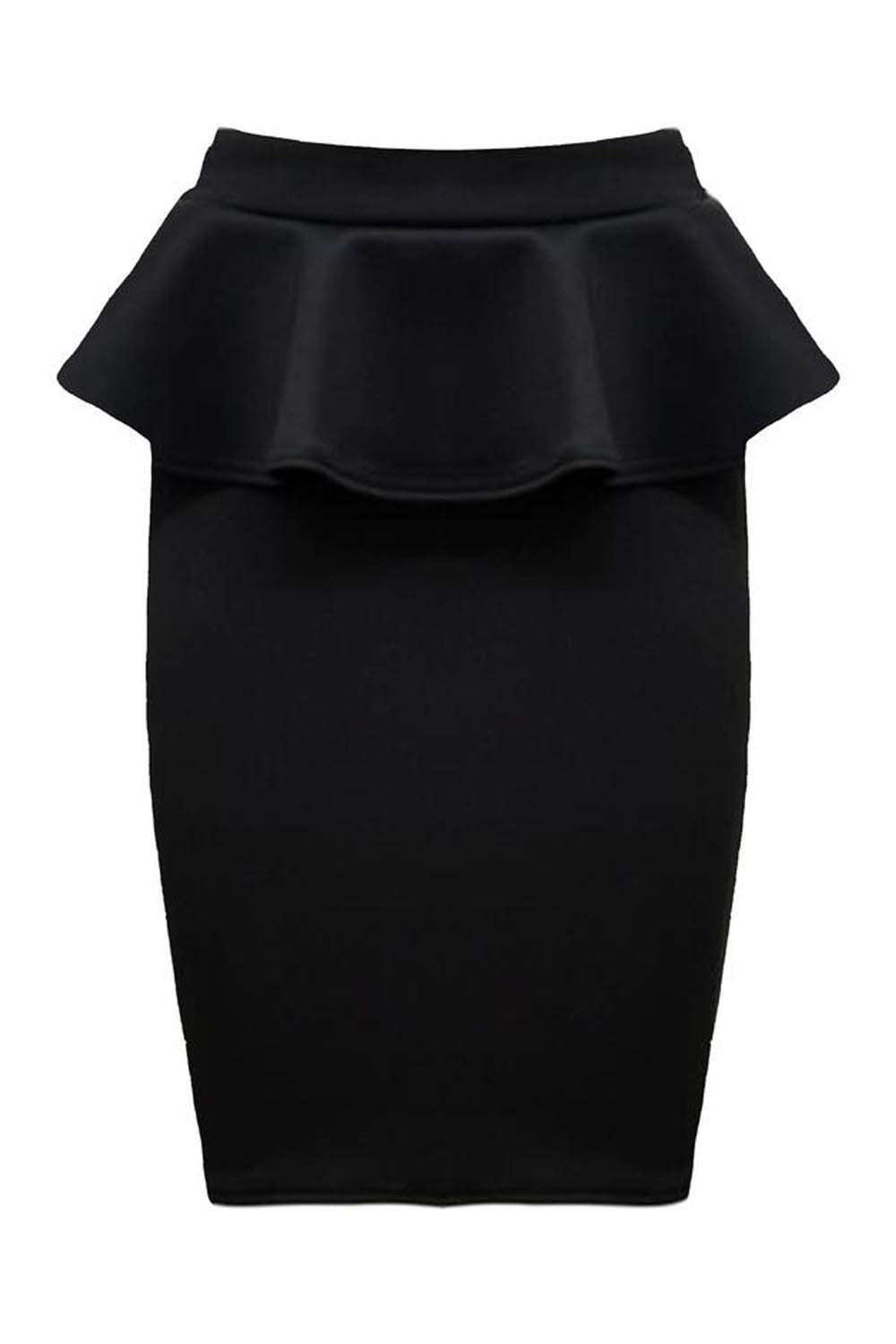 Black High Waisted Peplum Frill Midi Pencil Skirt - bejealous-com