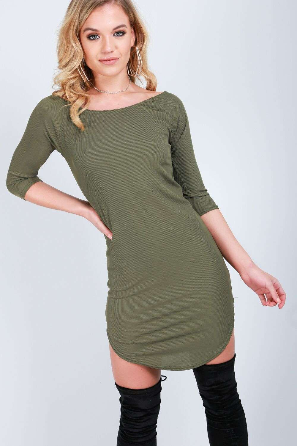 Black Long Sleeve Bardot Curve Hem Mini Dress - bejealous-com