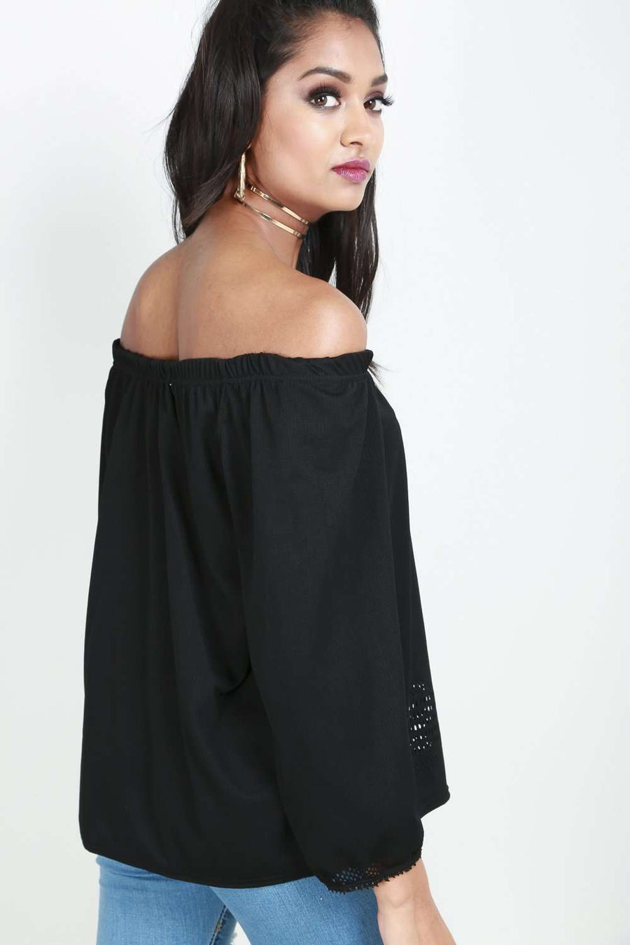 Black Off Shoulder Laser Cut Long Sleeve Top - bejealous-com