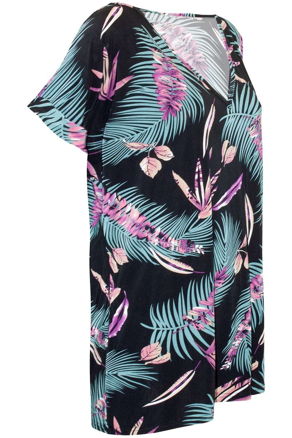 Black Oversized Tropical Print Roll Sleeve Tshirt - bejealous-com