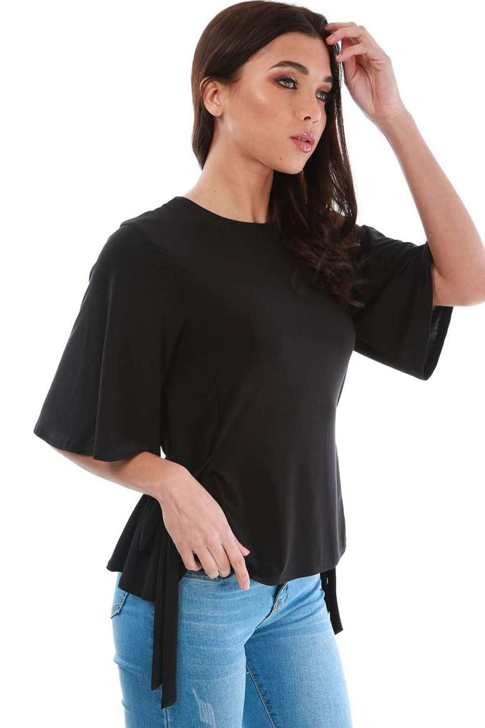 Black Slinky Draped Tie Side Loose Fit Top - bejealous-com