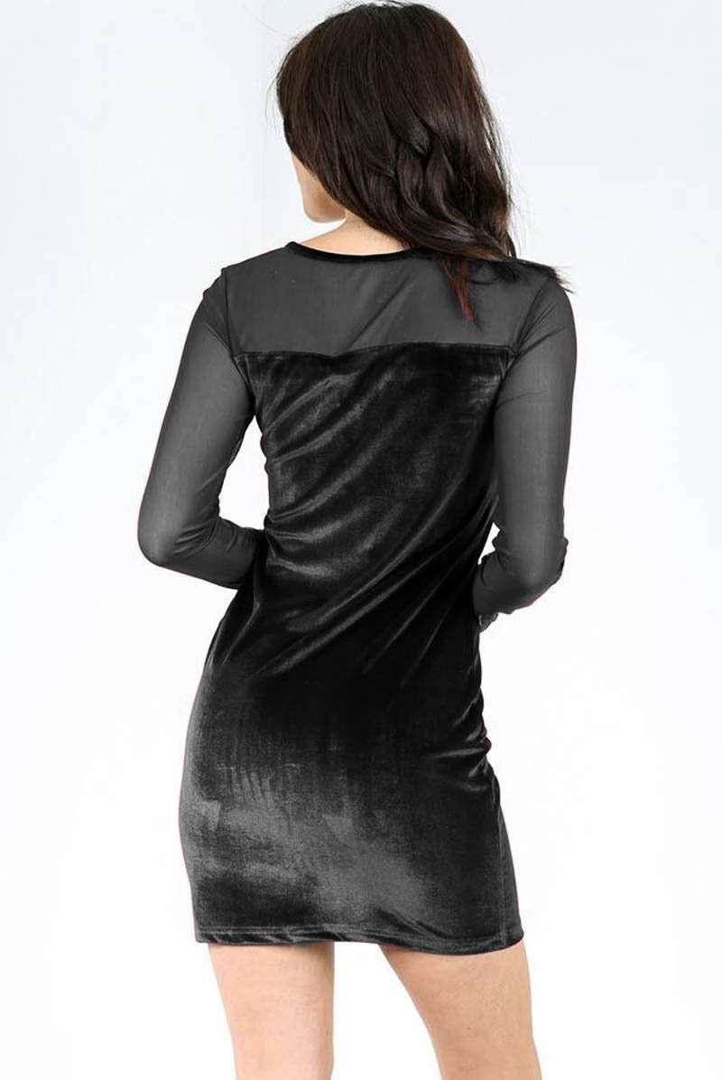 Black Velvet Bodycon Dress With Mesh Sleeves - bejealous-com