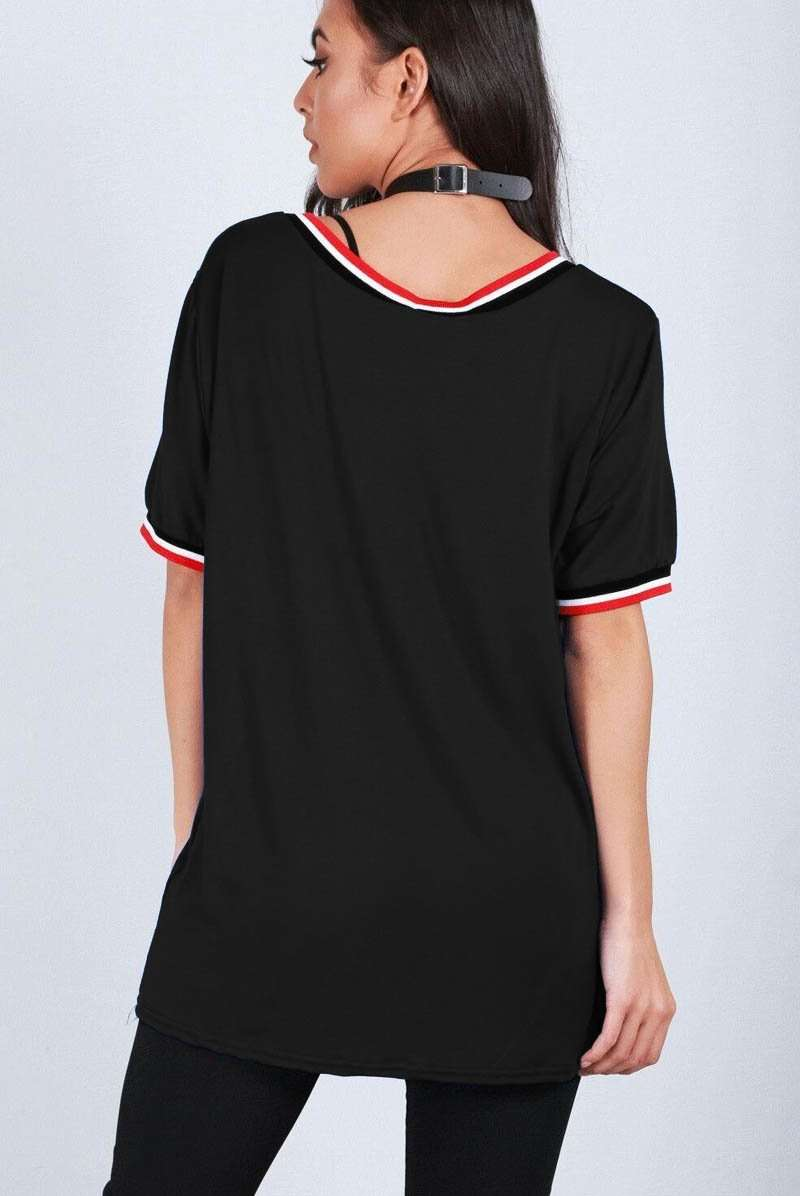 Black Vneck Sporty Striped Oversized Tshirt - bejealous-com