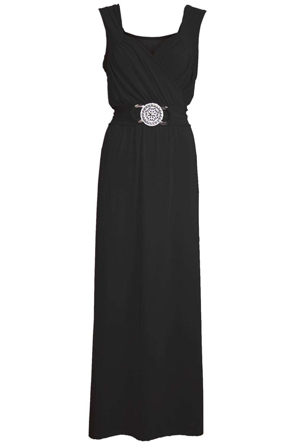 Black Wrap Front Beaded Belt Floaty Maxi Dress - bejealous-com