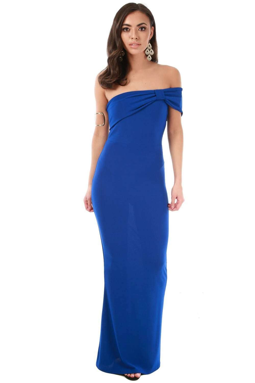 Blue Bardot Bow One Shoulder Fishtail Maxi Dress - bejealous-com