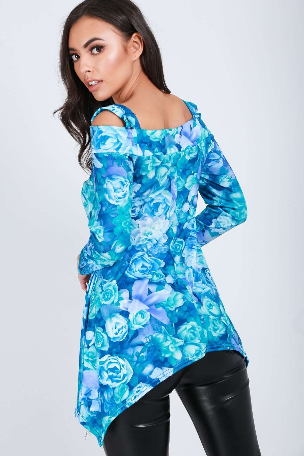 Blue Floral Hanky Hem Cold Shoulder Top - bejealous-com