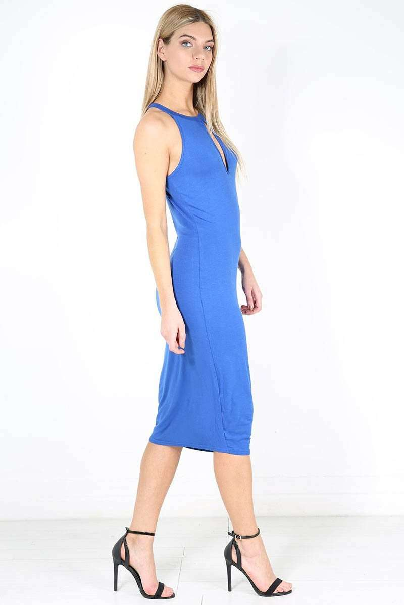 Blue Halterneck Keyhole Midi Bodycon Dress - bejealous-com