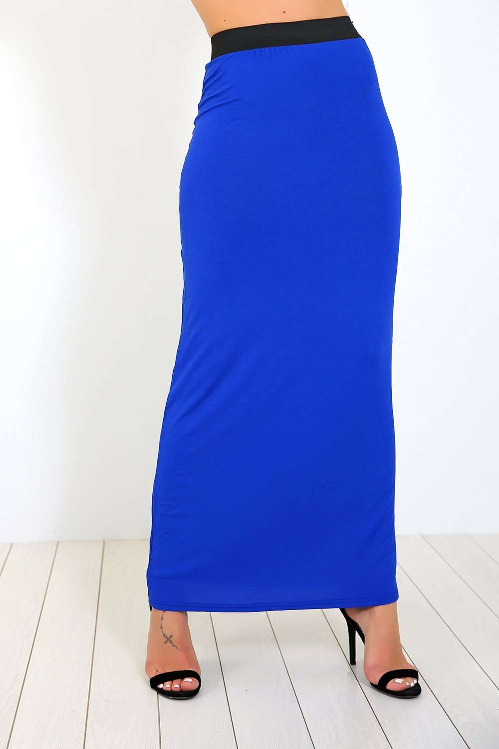 Blue High Waisted Basic Jersey Maxi Skirt - bejealous-com