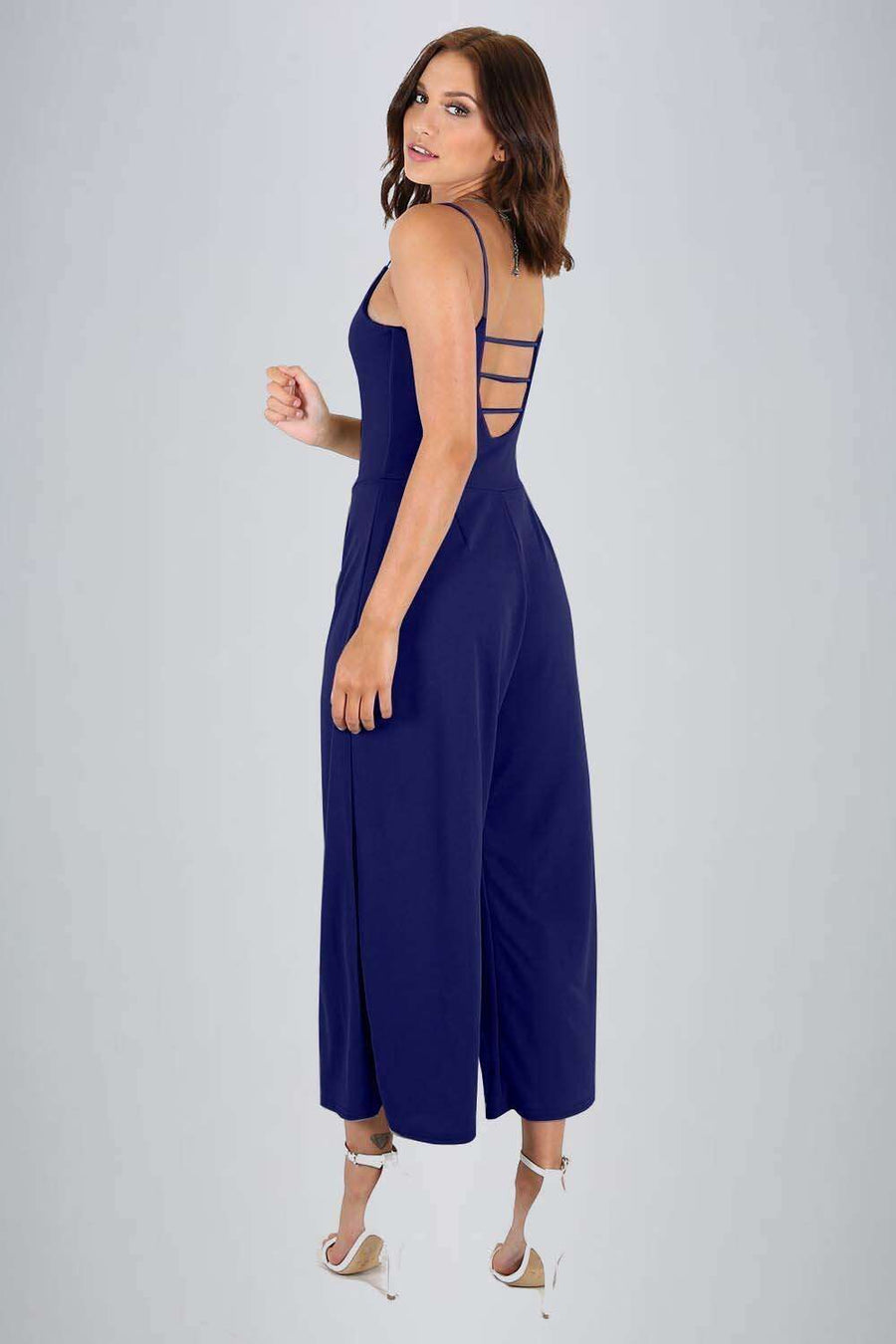 Blue Open Back Strappy Cropped Culotte Basic Jumpsuit - bejealous-com