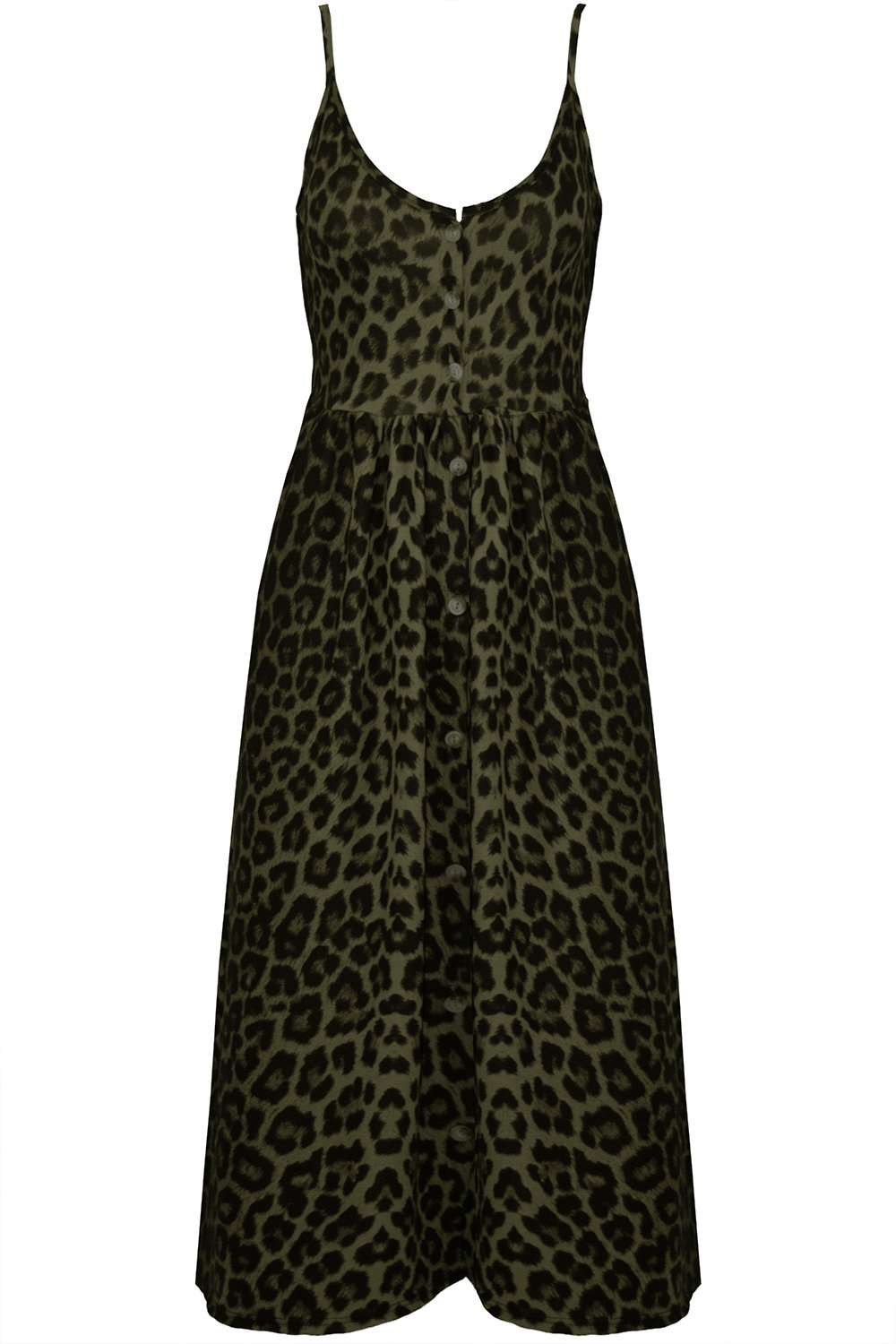 Breana Button Up Strappy Leopard Print Dress - bejealous-com