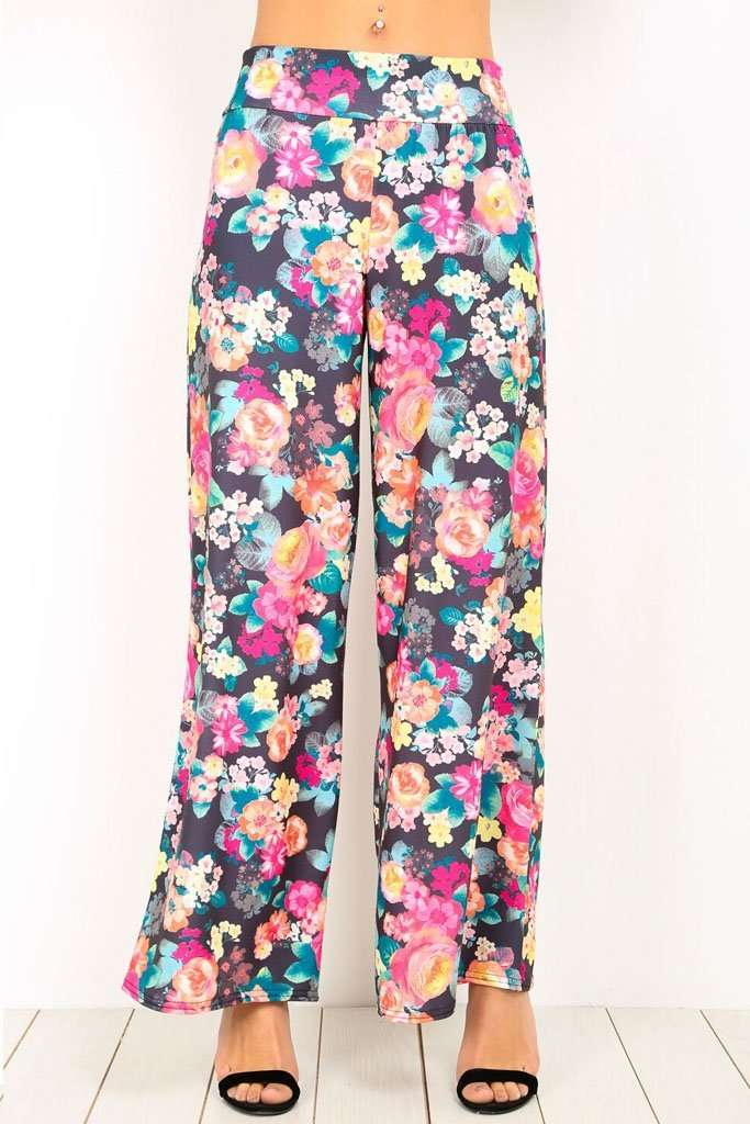 Breeze Floral Print Wide Leg Palazzo Pants - bejealous-com
