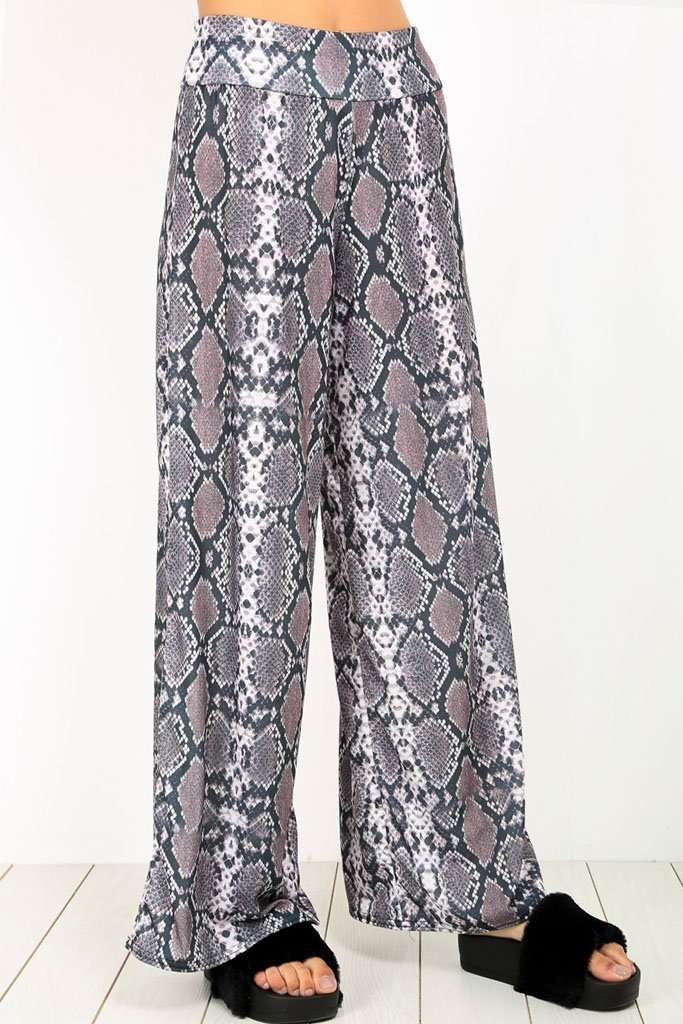 Breeze Snake Print Wide Leg Palazzo Pants - bejealous-com