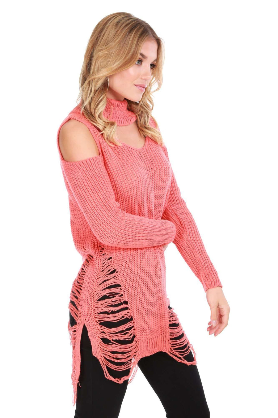 Bria Choker Neck Oversized Ripped Knitted Jumper - bejealous-com