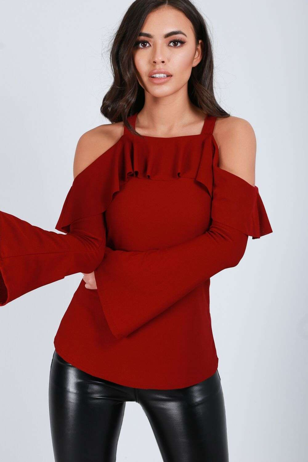Brianne Cold Shoulder Flute Sleeve Frilly Top - bejealous-com
