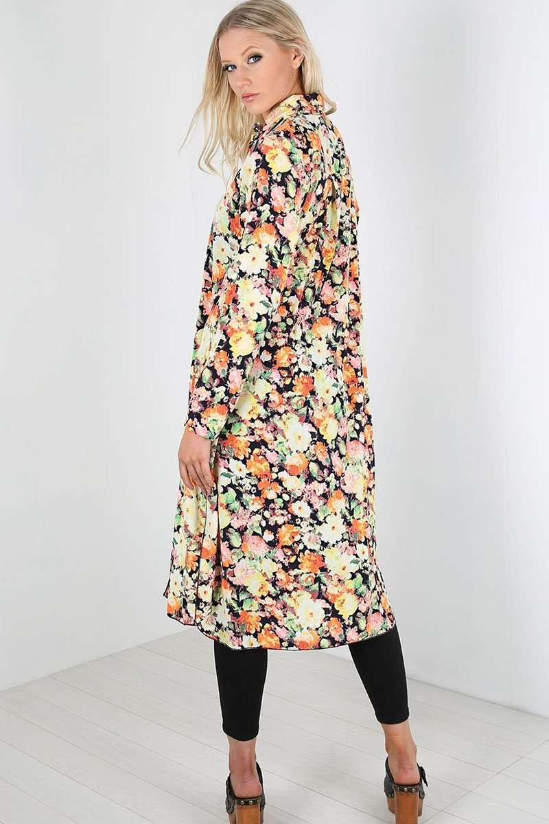 Brionie Floral Chiffon Midi Shirt Dress - bejealous-com
