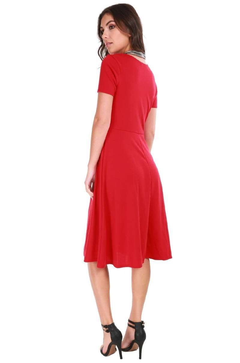 Burgundy Cap Sleeve Belted Midi Skater Dress - bejealous-com