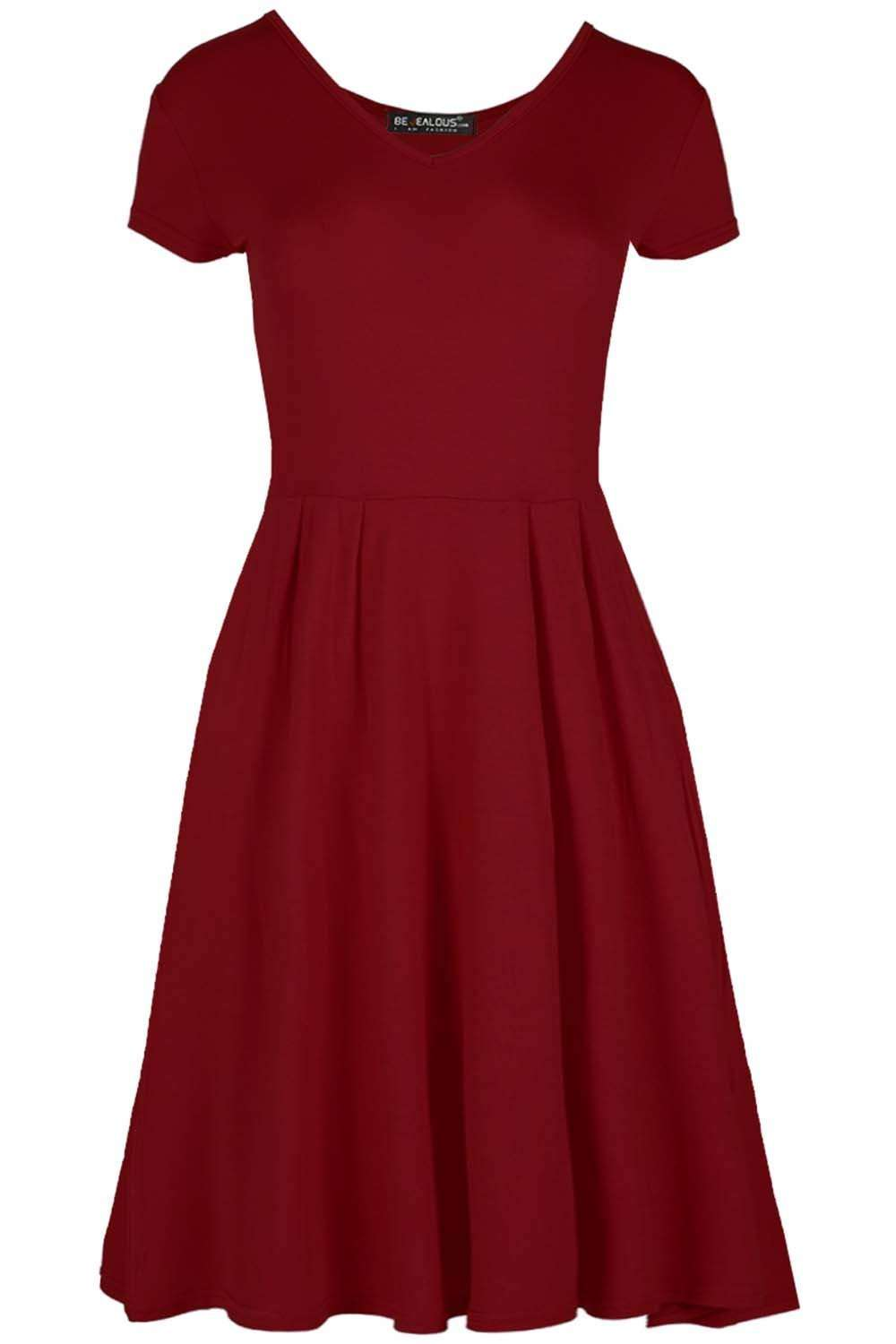 Cadie V Neck Basic Jersey Mini Swing Dress - bejealous-com