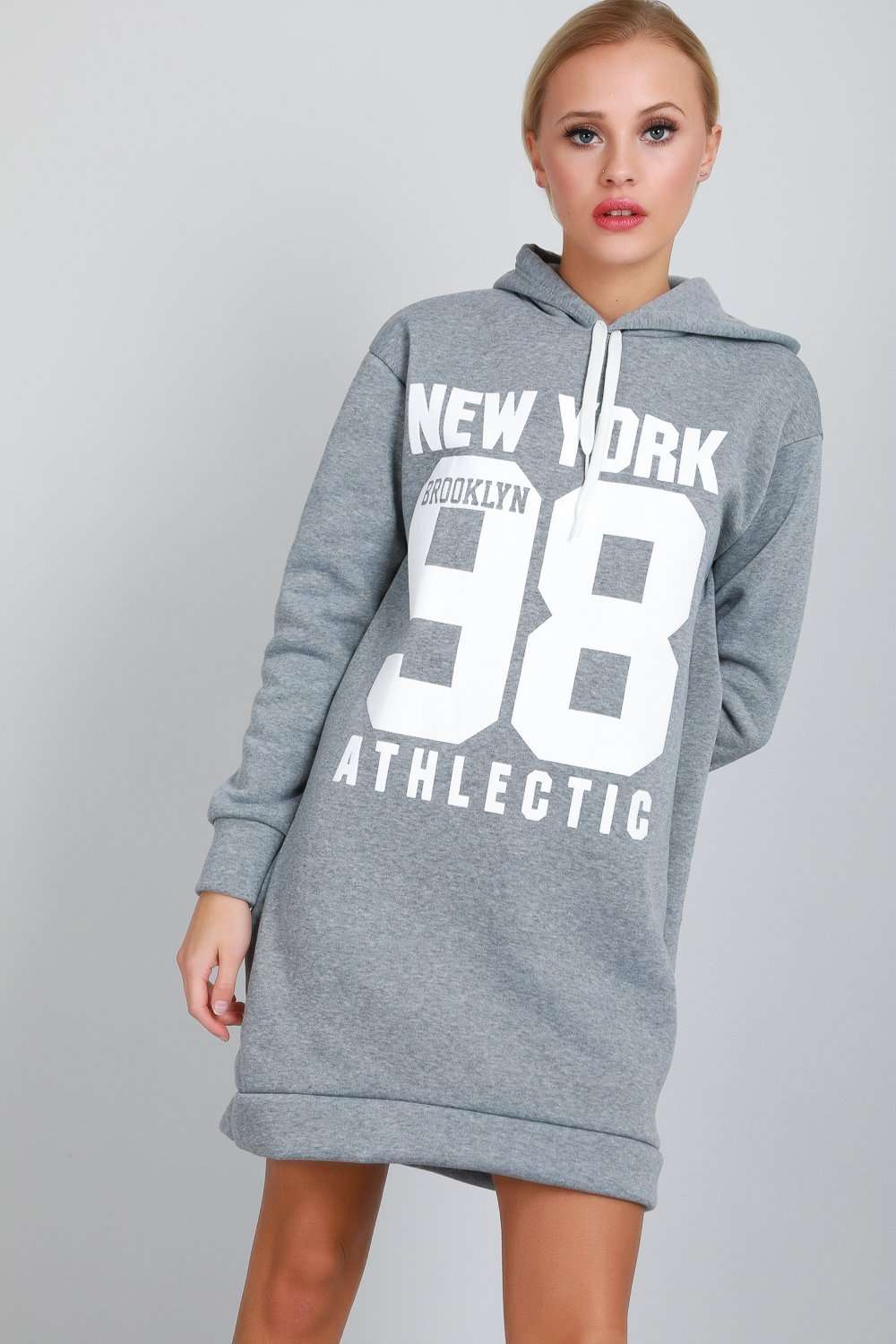 Long Sleeve New York Slogan Print Sweatshirt Dress - bejealous-com