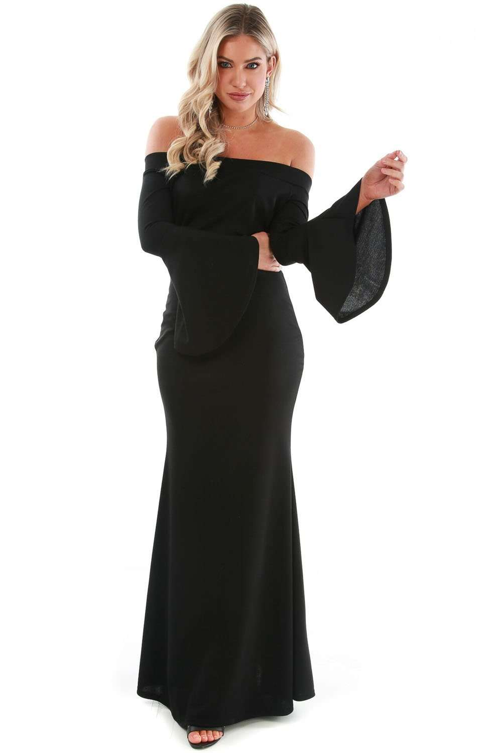 Callie Flare Sleeve Bardot Fishtail Maxi Dress - bejealous-com