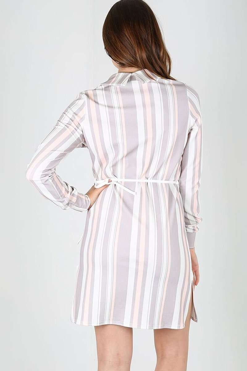Callie Long Sleeve Striped Belted Shirt Dress - bejealous-com