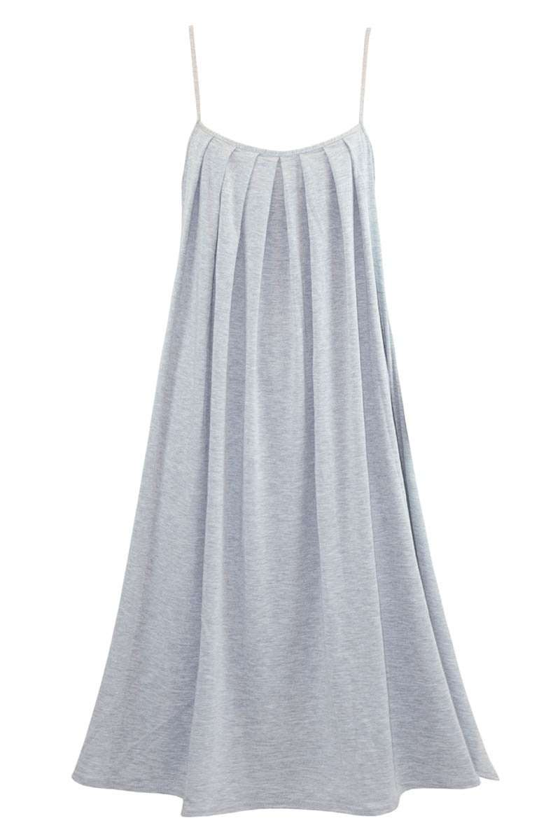 Cami Strappy Grey Pleated Mini Swing Dress - bejealous-com