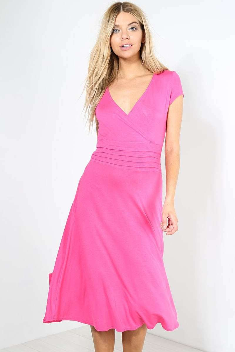 Cap Sleeve Vneck Pink Pleated Midi Swing Dress - bejealous-com
