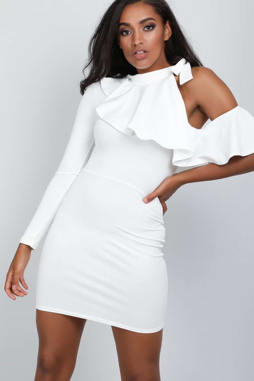 Carah One Shoulder Frill Neck Mini Bodycon Dress - bejealous-com