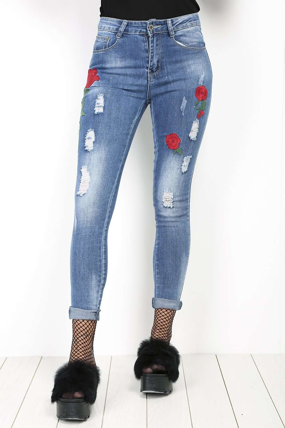 Caren Floral Applique Ripped Skinny Jeans - bejealous-com