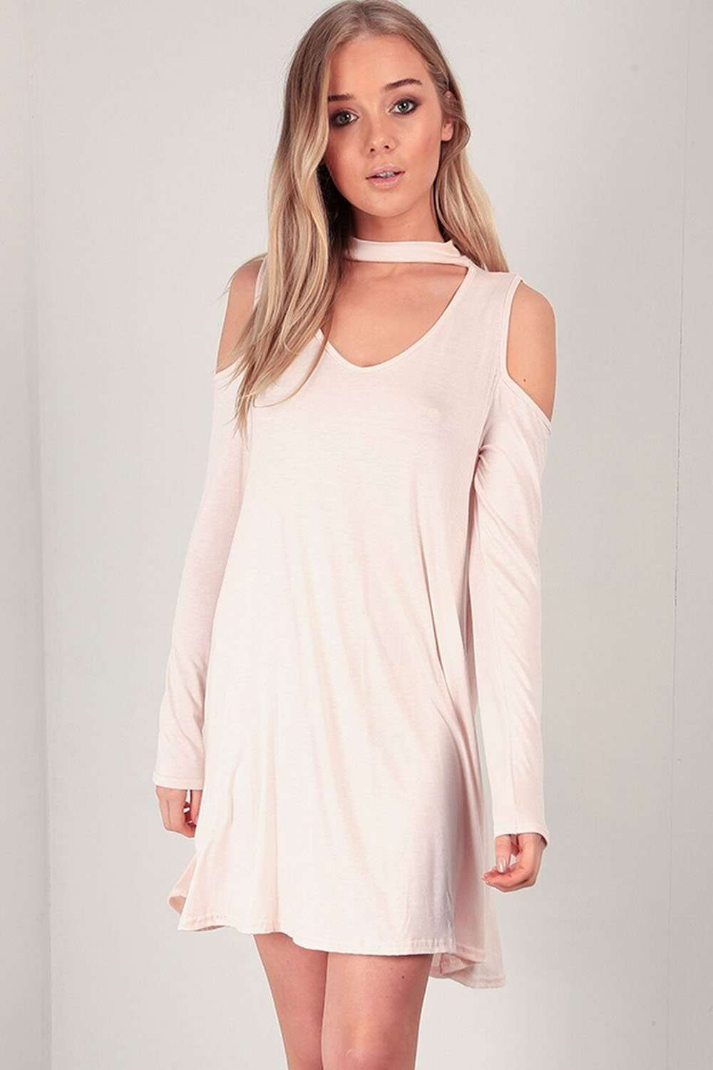 Carleen Cold Shoulder Choker Neck Swing Dress - bejealous-com